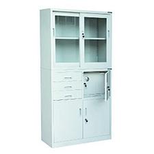 发力 偏三斗内保险柜玻璃移门柜 (灰白)  FL-033