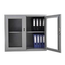 发力 对开门玻璃矮柜 (灰白)  FL-099