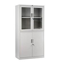 集大 玻璃雙節開門柜 (淺灰) W900*D450*H1840mm  CB-BK9-K9
