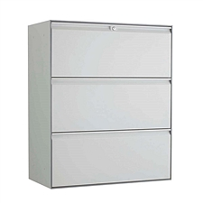 国誉 Softorage三层抽屉柜 900*450*1076mm 白色柜门,银色柜身  KSR-L39WNN