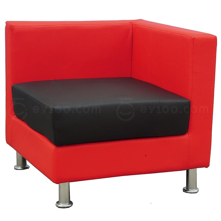 顺发 单人位环保皮沙发 (座黑背红) 720W*720D*700H  SH10-01