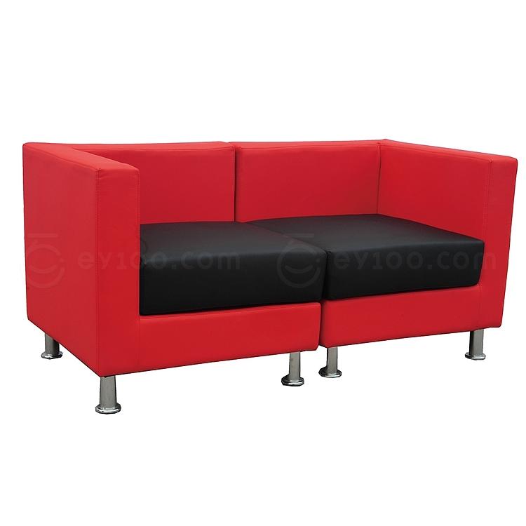 顺发 双人位环保皮沙发 (座黑背红) 1440W*720D*700H  SH10-01
