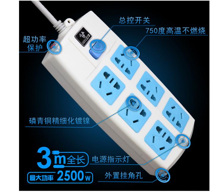 公牛 六联斜面电源插座 3mgn-603