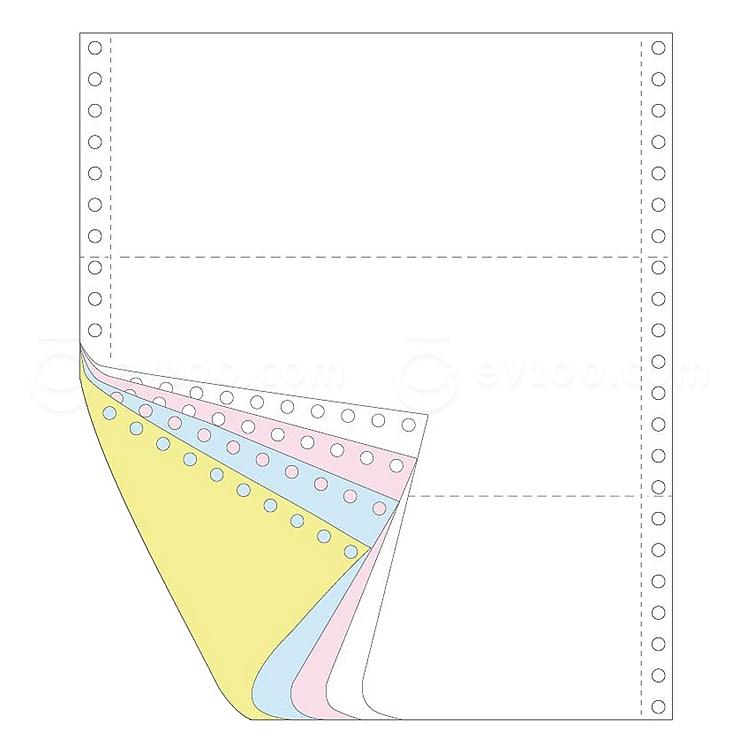 传美 彩色打印纸三等分 (白/红/绿/黄) 带裂线  241-41/3