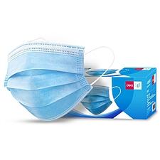 得力 一次性三層口罩 (藍) 50只/盒  19380