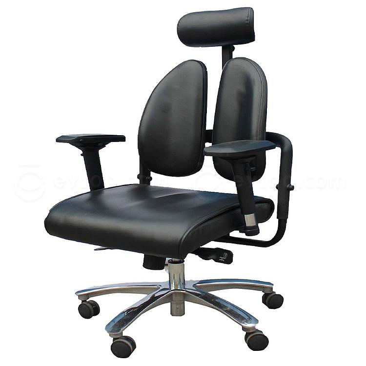 普格瑞斯 人体工学双背办公椅 (黑) 进口牛皮  PH-18BH