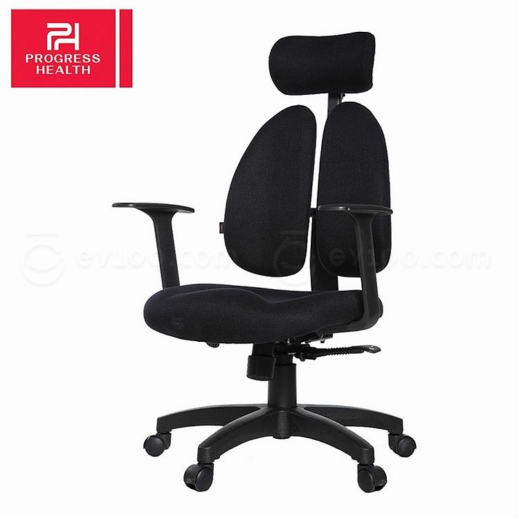普格瑞斯 人体工学双背办公椅 (黑) 一般海棉  PH-08BH
